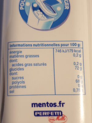 Mentos white always - Informations nutritionnelles