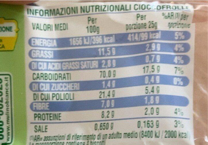 Cioccofrolle - Valori nutrizionali - fr