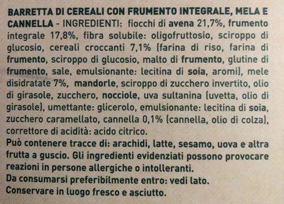 Barre de cereale - Ingrediënten