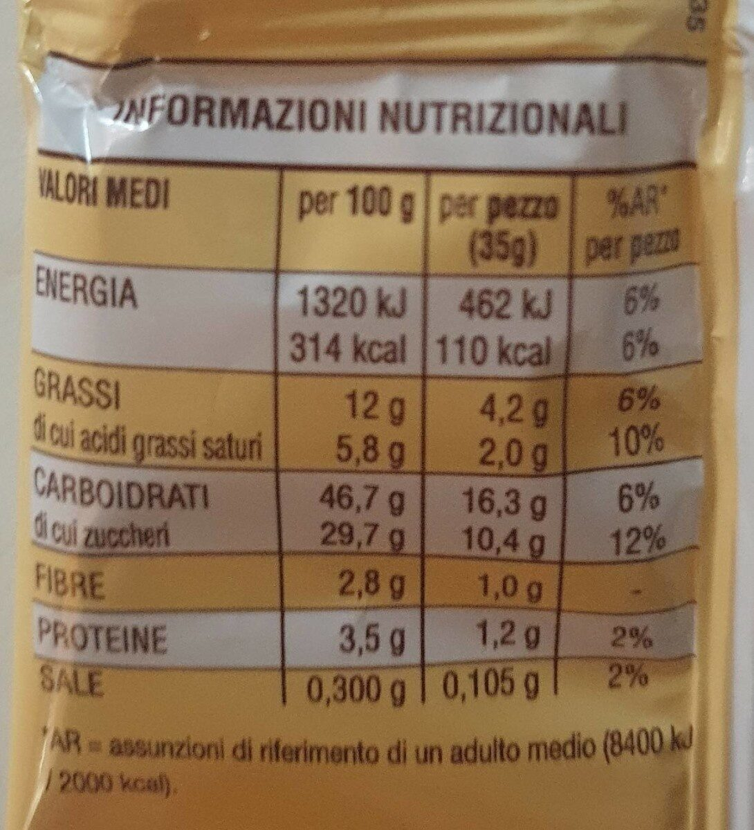 CuorCake - Valori nutrizionali - it