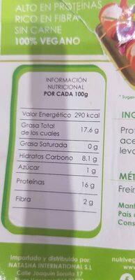 Bacon vegano - Voedingswaarden