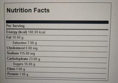 Oreo barz - Información nutricional - en