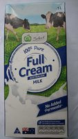 Woolworths Select 100% Pure Full Cream Australian Milk - Product