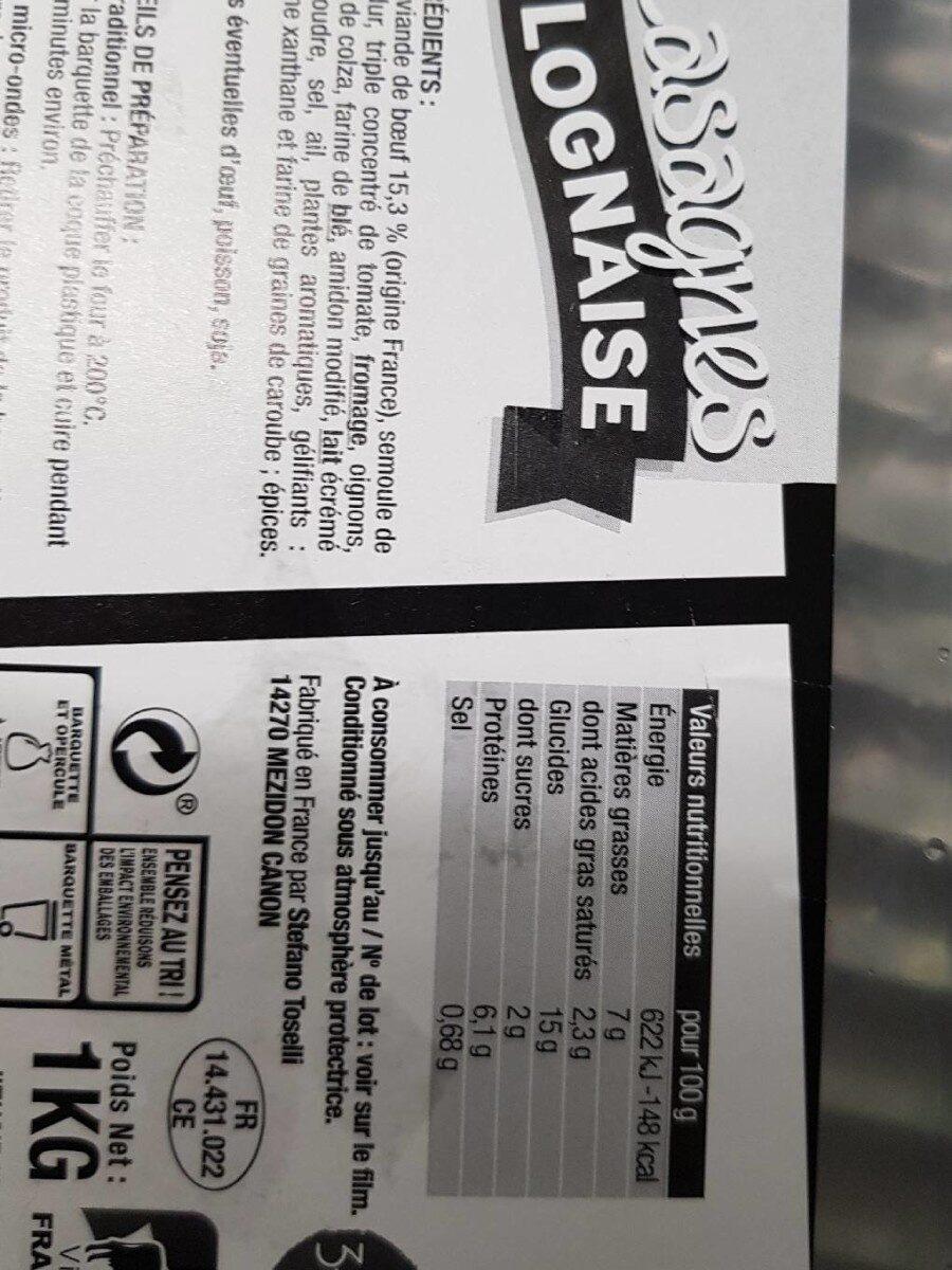Lasagne bolognaise - Nutrition facts - fr