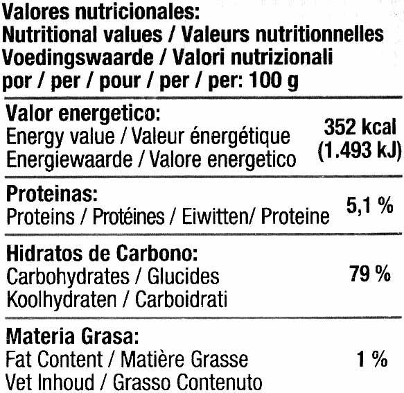 Fideos de arroz - Información nutricional