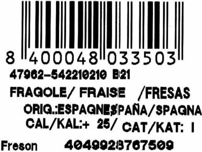 """Fresones """"Fresón de Palos"""" - Ingredientes"""