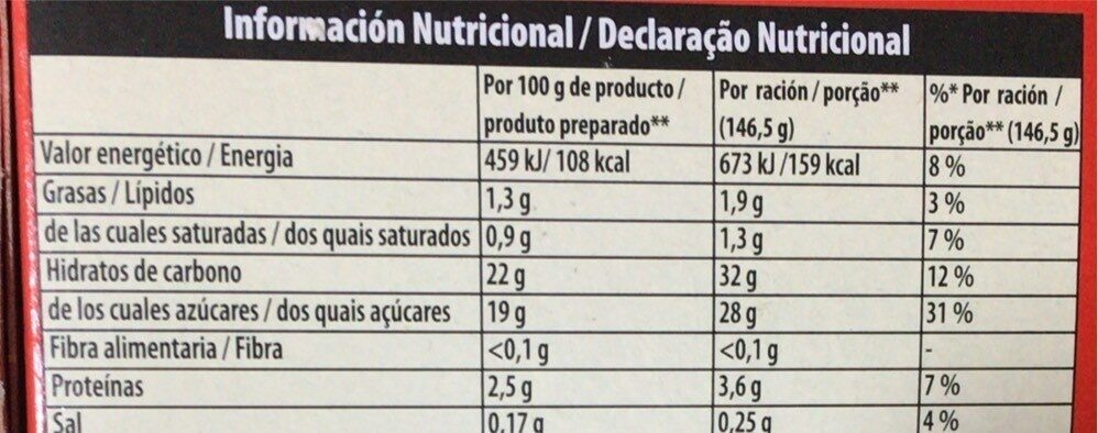 Preparado para natillas caseras - Información nutricional - es