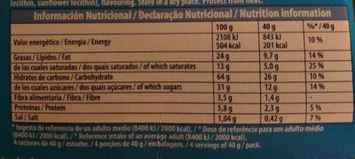 Mini Chips Ahoy! - Información nutricional - es