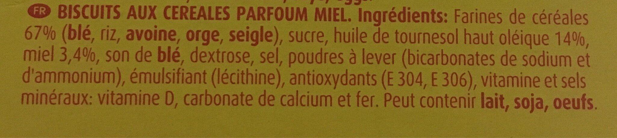 Chiquilin Biscuits aux céréales parfum miel - Ingredientes - fr