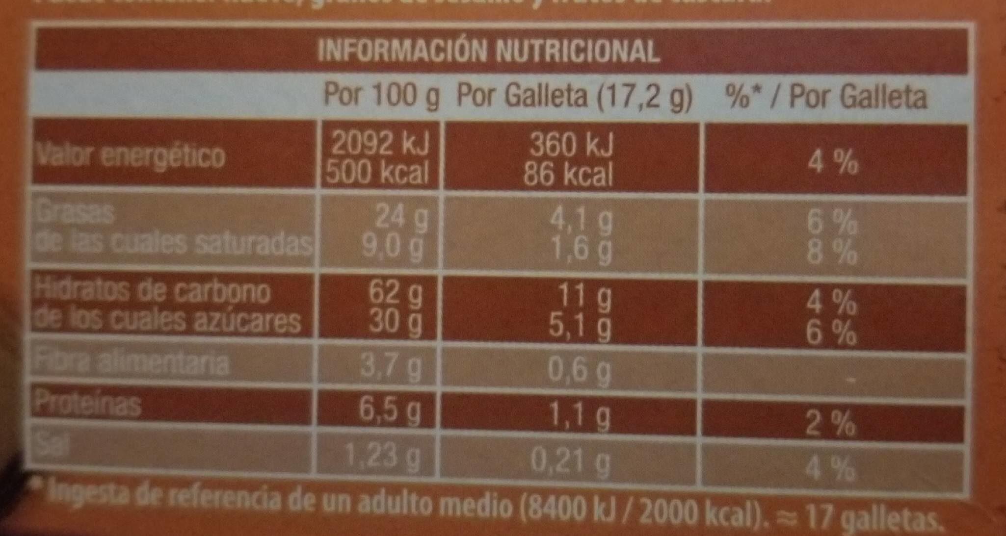Galletas Digestive con chocolate con leche - Informació nutricional - es