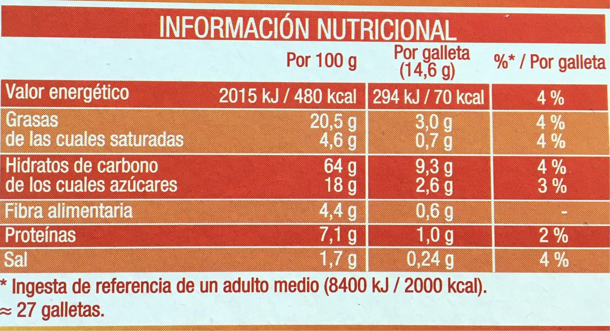 Galleta Fontaneda Digestive Paquete De 400 G 41167 - Información nutricional - es