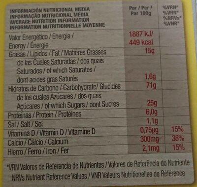 Chiquilin ositos sabor miel - Información nutricional
