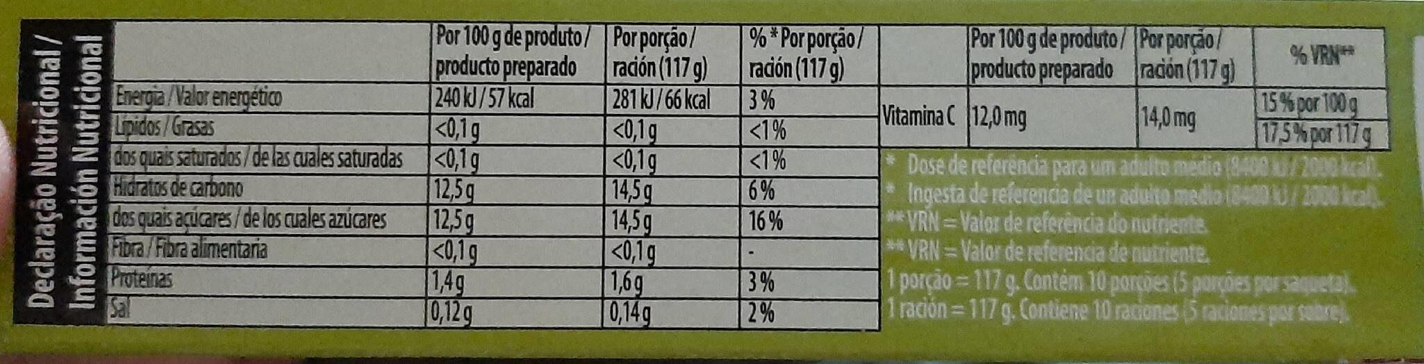 Gelatina Royal Limón - Informació nutricional
