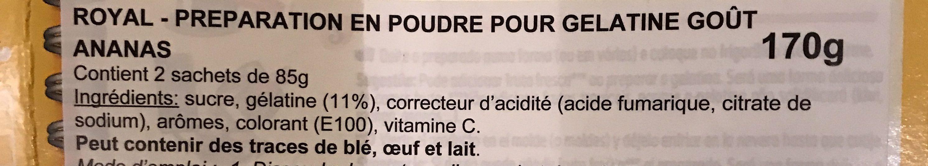 Gélatine saveur Ananas - Ingredientes - fr