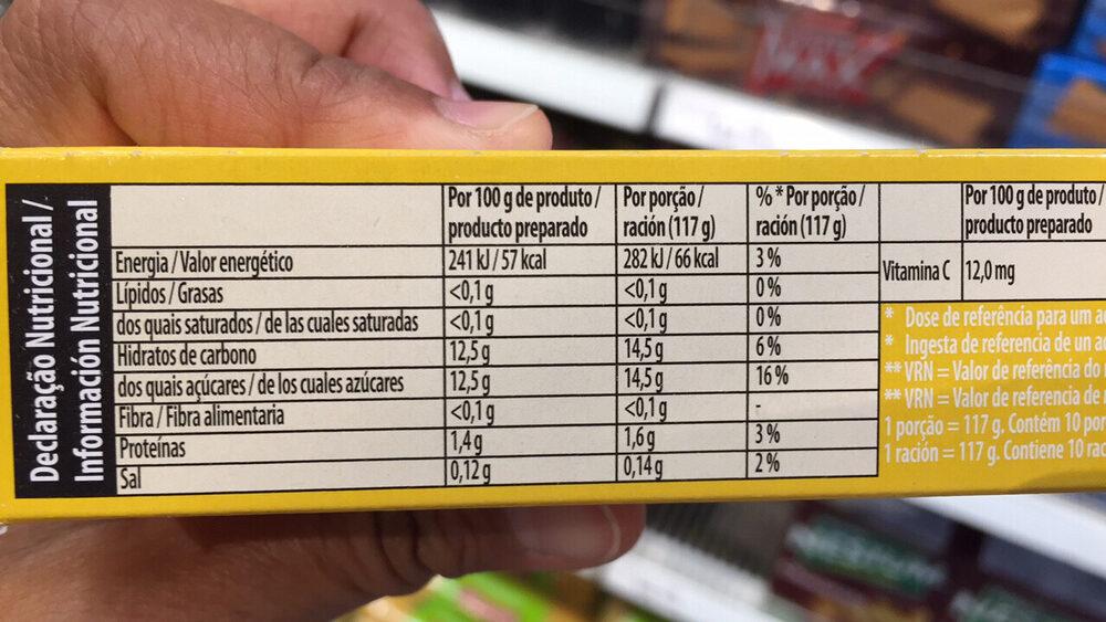 Gélatine saveur Ananas - Información nutricional - es