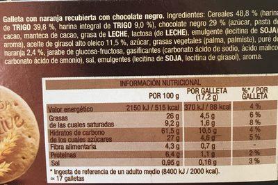 Digestive chocolate negro y naranja - Ingrédients