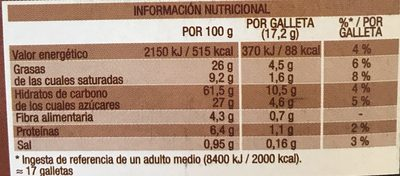 Digestive Noir con Naranja - Nutrition facts