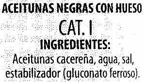 """Aceitunas negras enteras variedad """"cacereña"""" - Ingrediënten"""
