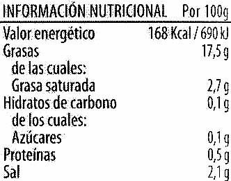 """Aceitunas negras enteras variedad """"cacereña"""" - Informations nutritionnelles - es"""