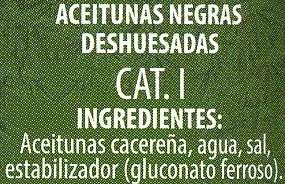 """Aceitunas negras deshuesadas variedad """"cacereña"""" - Ingrediënten"""