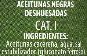 """Aceitunas negras deshuesadas variedad """"cacereña"""" - Ingredientes - es"""