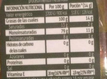 Aceite de oliva virgen extra - Informació nutricional