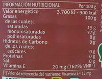 Aceite de oliva suave 0,4º bidón 3 l - Información nutricional