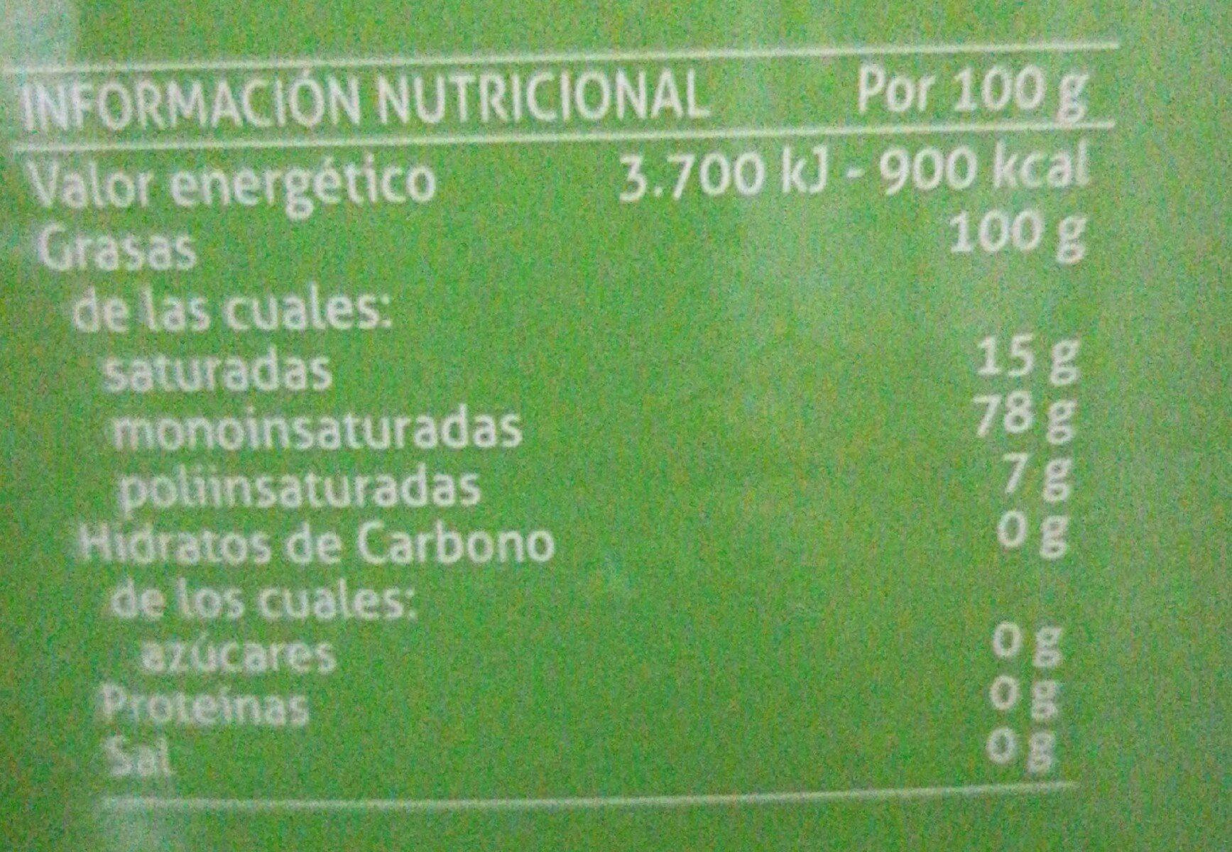 Aceite de oliva virgen - Informació nutricional - es