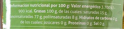 Aceite de oliva virgen - Informations nutritionnelles