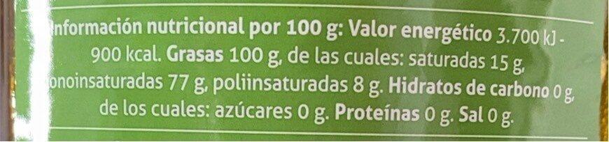 Aceite de oliva virgen - Informations nutritionnelles - es