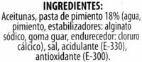 """Aceitunas verdes rellenas de pimiento """"Carbonell"""" - Ingrediënten - es"""