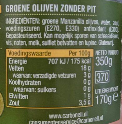 Groene olijven Zonder Pit - Voedingswaarden - nl