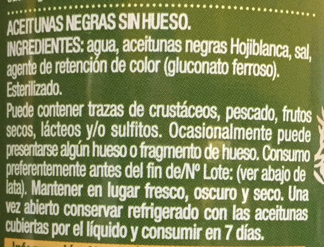 Aceitunas Negras sin hueso - Ingredients - es