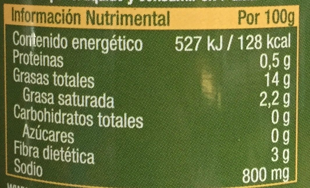 Aceitunas Negras sin hueso - Nutrition facts - es