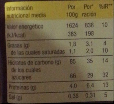 Maestro - Nutrition facts - fr