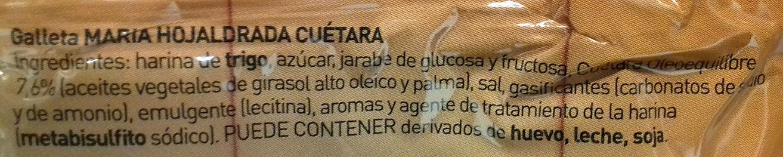 Hojaldrada - Ingredients
