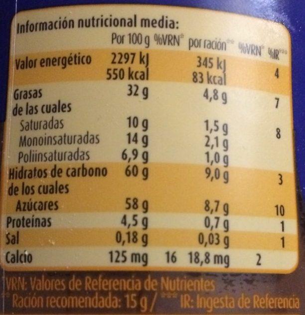 Nocilla 2 Sabores 400GR Vaso Cristal Decorado - Valori nutrizionali - fr