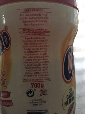 Cola Cao 0% 750g - Ingredientes