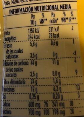 Cola Cao 0% - Información nutricional - es
