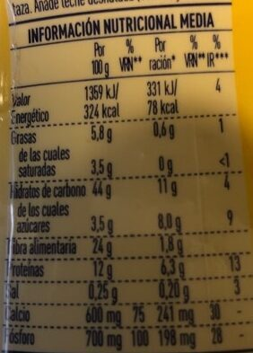 Cacao 0% - Informations nutritionnelles - es