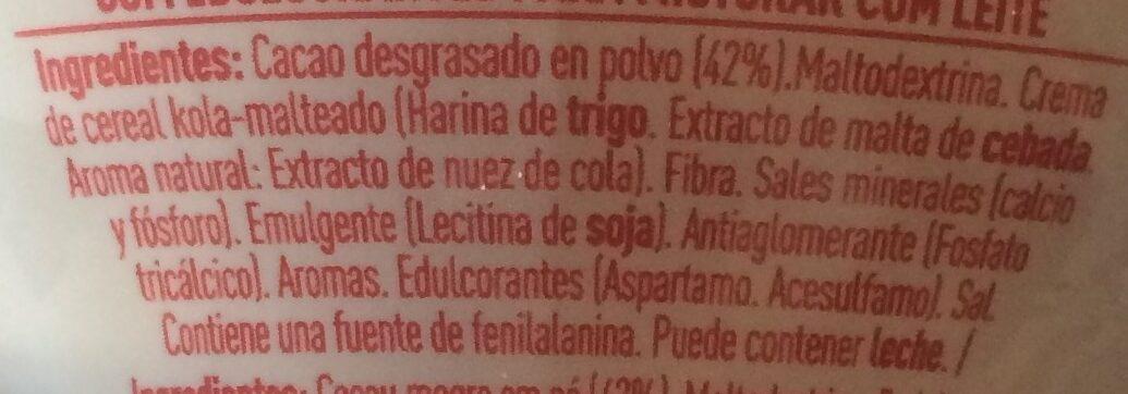 Cola Cao 0% azúcares añadidos - Ingredientes - es