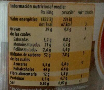 Crema de cacao - Voedingswaarden - es