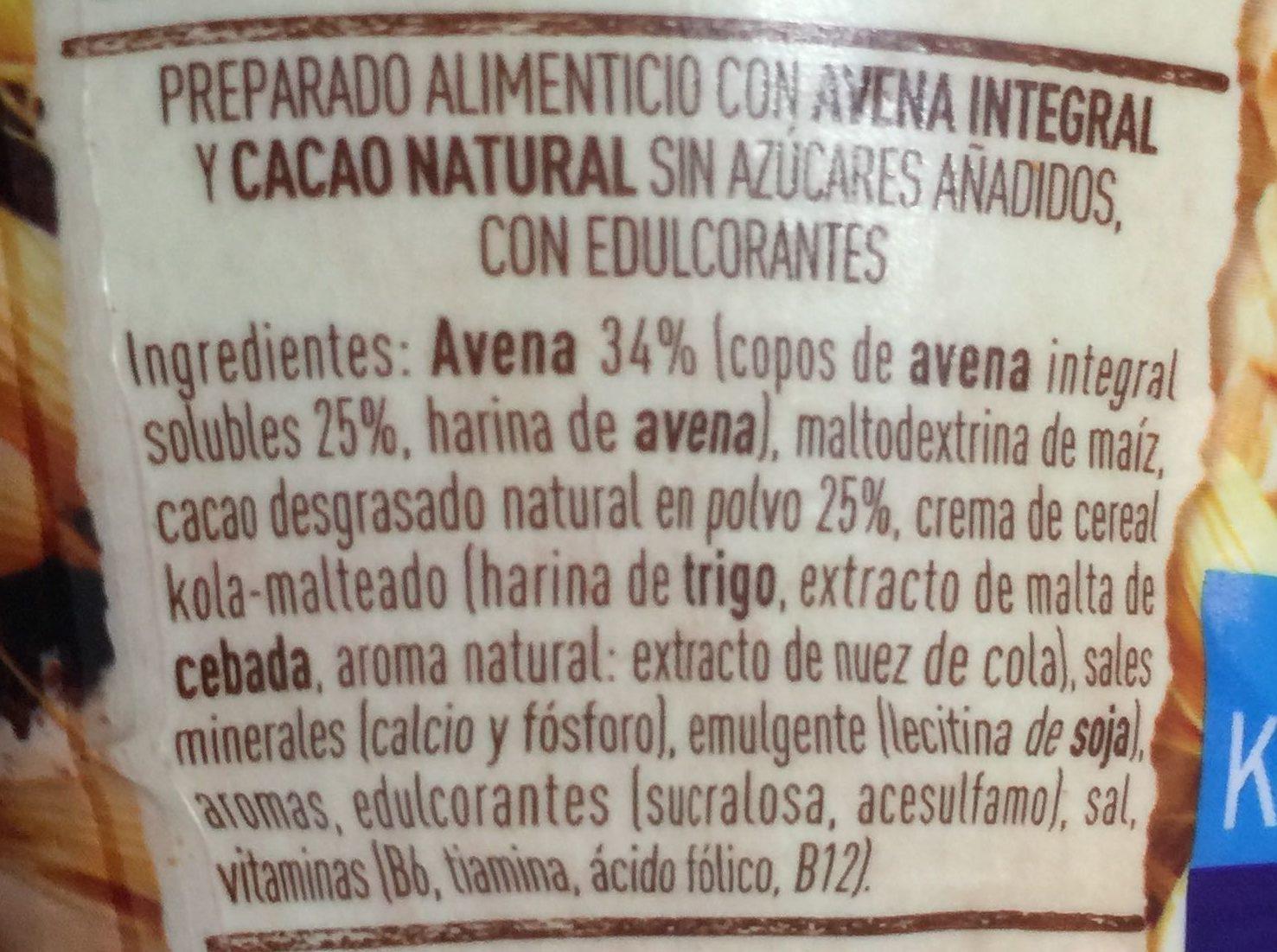 Avenacao - Ingredientes