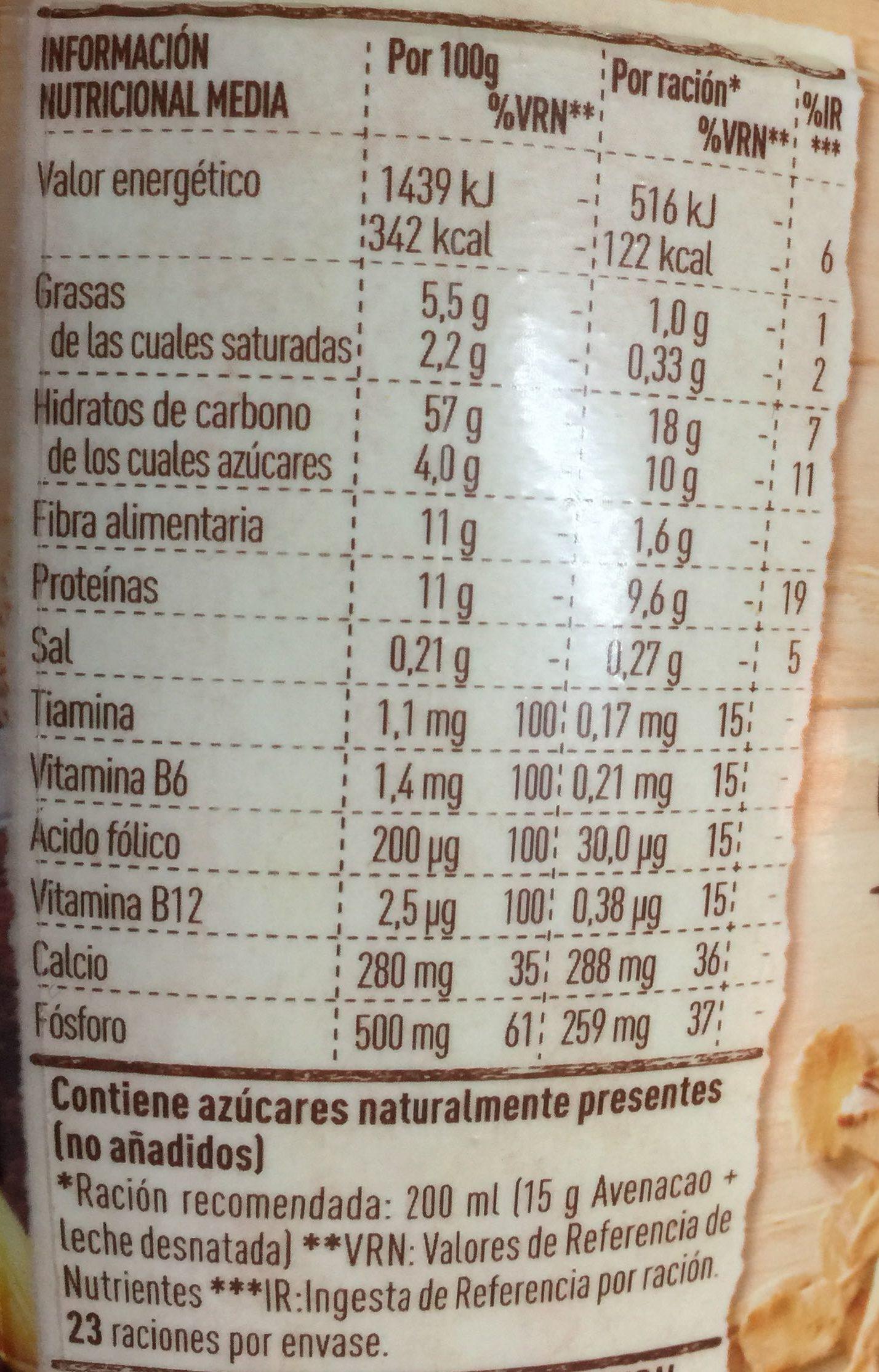 Avenacao - Información nutricional