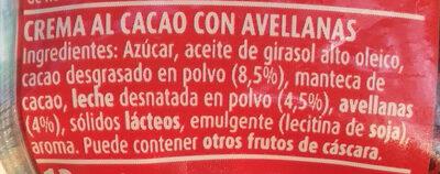 Crema de cacao y avellanas - Ingredientes