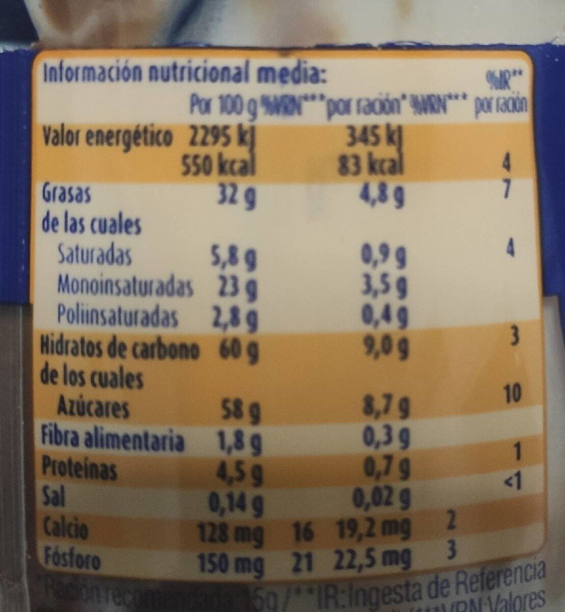 Pâte à tartiner - Informació nutricional - es