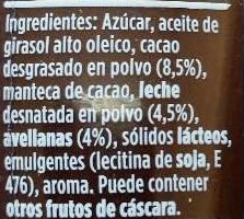 Nocilla - Ingredients - es