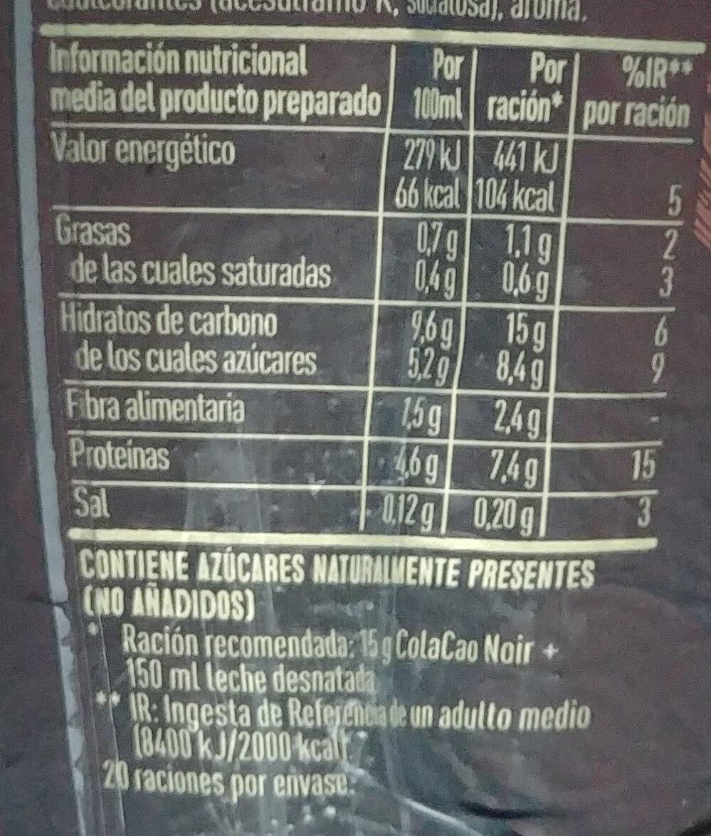 ColaCao noir - Informations nutritionnelles - es