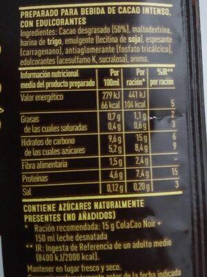 Cola Cao Noir - Voedingswaarden