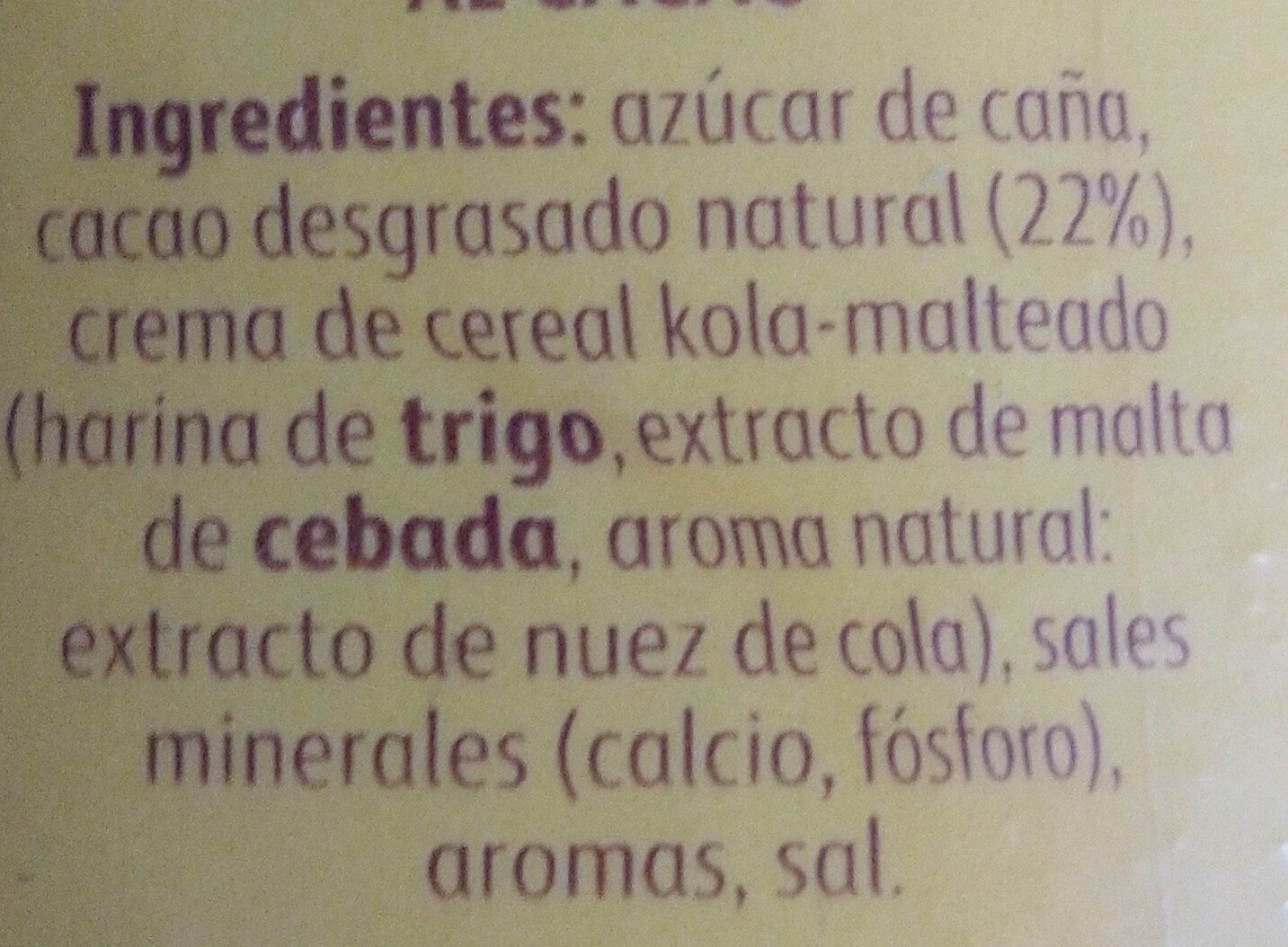Cola Cao el original - Ingredients